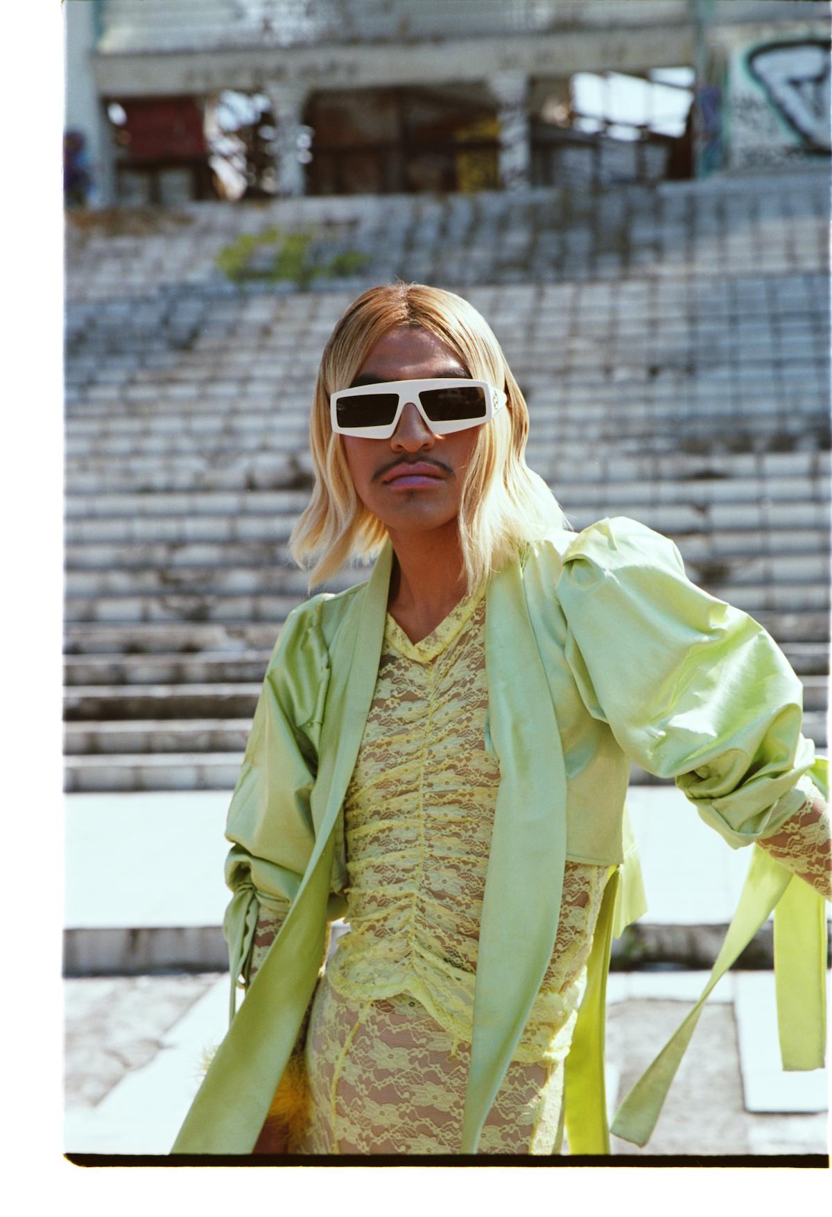 Look total Anthony Rivera, Lentes de sol Gucci, Botas Ganni