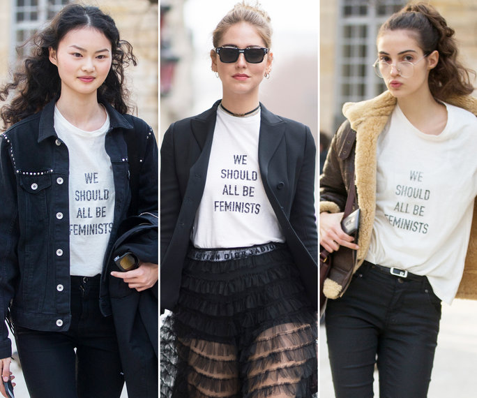 Modelos e influncers utilizando la t-shirt de Dior